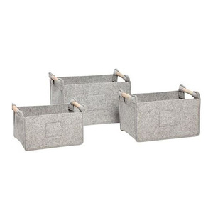 [hubsch]Felt Basket 3set -pocket grey
